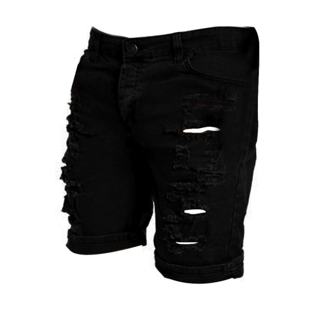 vermers HOT Sale Men's Casual Jeans Destroyed Knee Length Hole Ripped Pants (XL, Black) by vermers (Image #2)