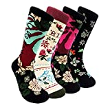 Womens Colorful Dress Crew Socks Flower - HSELL Funky Patterned Japanese Style Casual Cotton Socks(Japanese Style Folwer - 4 Pairs)