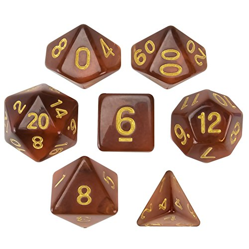 (Wiz Dice Desert Topaz Set of 7 Polyhedral Dice, Translucent Brown Iced Tea Colored Tabletop RPG Dice with Clear Display Box)