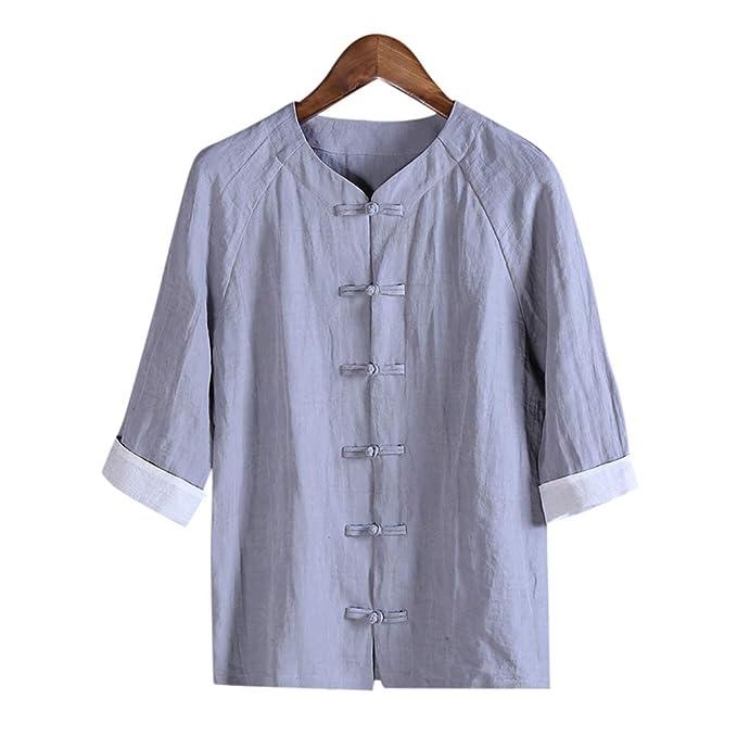 Moda para Hombre Hecha a Mano Algodón Lino Ropa de Vestir Larga/Corta / Camisa