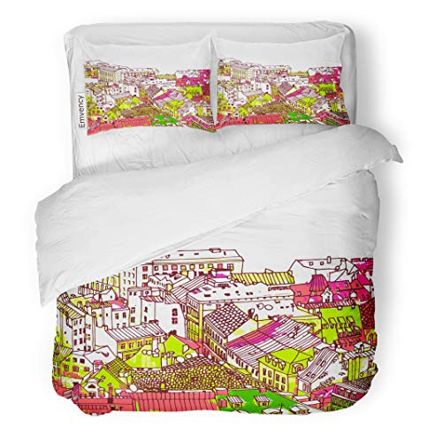 Semtomn Decor Duvet Cover Set Full/Queen Size Old Town Street House Roof Road Lane Europe London 3 Piece Brushed Microfiber Fabric Print Bedding Set -