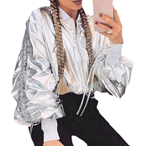 Sheng Xi Womens Metallic Full-Zip Short Glitter Casual Biker Jacket Outwear Coat Silver ()