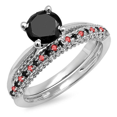 Dazzlingrock Collection 10K Round Ruby & Black Diamond Bridal Solitaire Engagement Ring Wedding Band Set, White Gold, Size 6