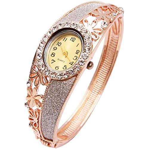 Wrist Watch for Female Flower Gold Bangle Wrap Watch