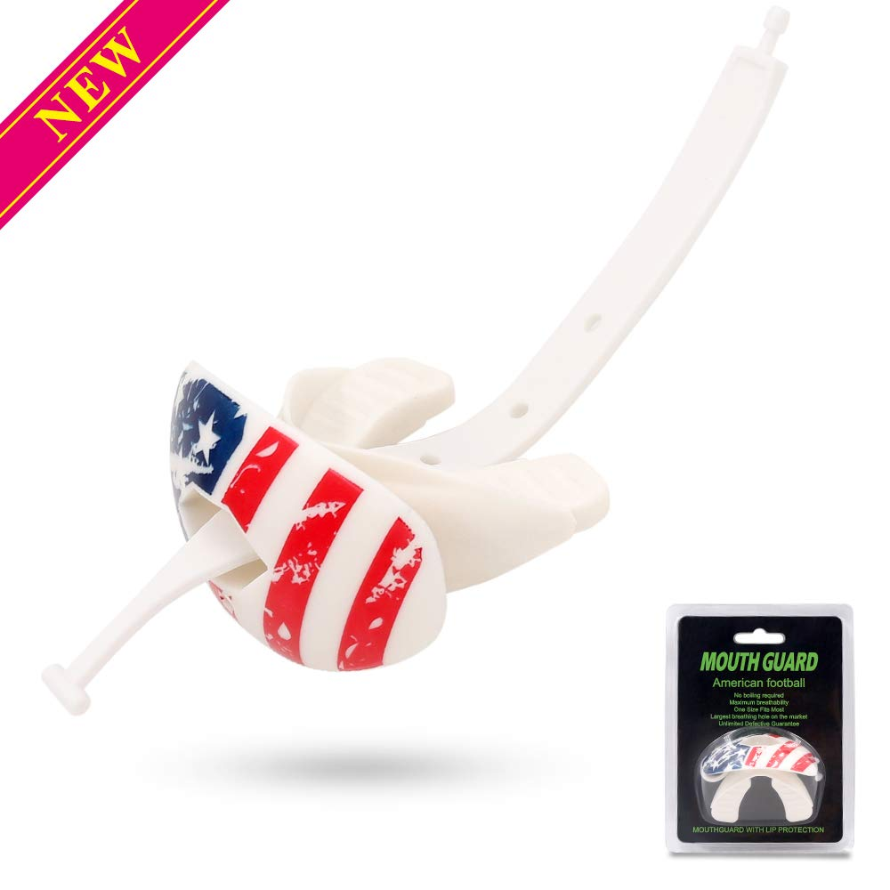 JUNMAO American Flag Football Mouth Guard,Protection Dental Guard,Oxygen Lip Protector&Max Airflow,Offers Lip Protection,Breathable & Comfortable,One Size Fits Most (American Flag)