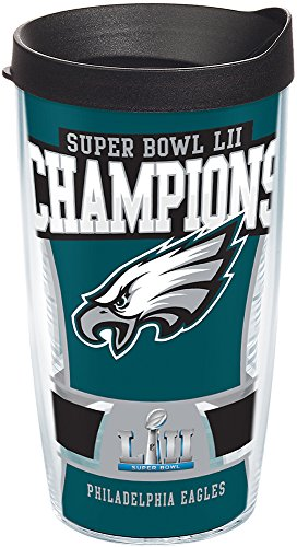 (Tervis 1293844 NFL Philadelphia Eagles Super Bowl LII Champions Tumbler With Lid, 16 oz, Clear)