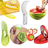Fruit Slicer Set of 4 PCS - 8th team Banana Watermelon Kiwi & Avocado Slicer Strawberry Huller Fruit Knife Kitchen Tools Value Pack