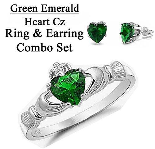 Emerald Set Claddagh Ring - 4
