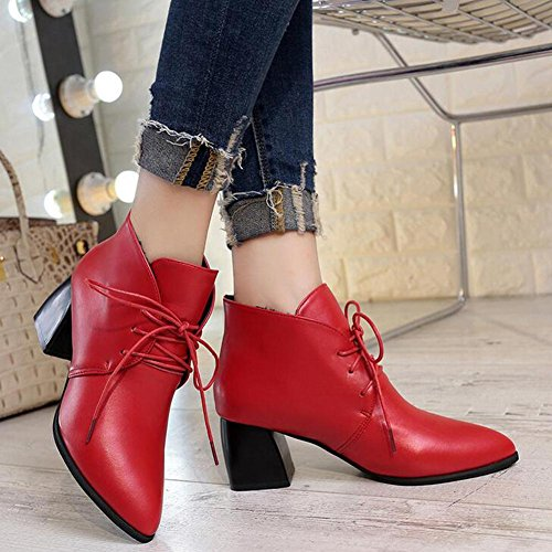 yc En Alto Lace Rojo De Red Tac¨®n Moda Forma Botas Las Negro L Zapatos Joker Pointy Corto Mujeres Sdxq4ffHcw
