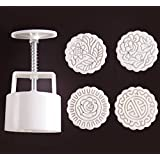 Zicome Round Moon Cake Mold with 4 Stamps, Flowers Design, White