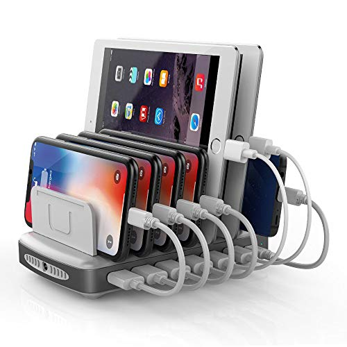 Unitek USB C Charging Station with 2 Quick Charge 3.0 Ports, 7-Port 96W Charger Dock and Universal Type C Electronics Charging Stand Organizer Compatible with iPhone, iPad, Smartphones, Tablets