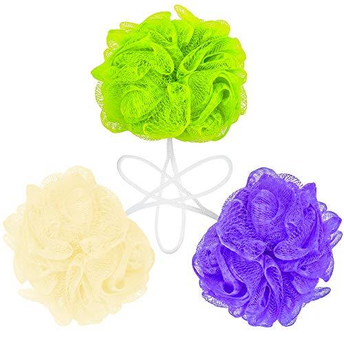 DecorRack 3 Bath Body Sponges, Durable, Soft Mesh Pouf Sponge Loofah Scrubber, Exfoliate, Rejuvenate, Feel Fresher and Cleaner, Shower Body Bathing Scrubber Sponge (Pack of 3)