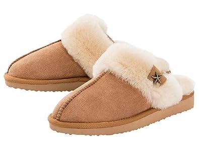 e8ec56d4cdcfbe Esmara® Damen Lammfell-Hausschuhe Echtes Lammfell für kuschelig warme Füße  Leichte Laufsohle  Warme