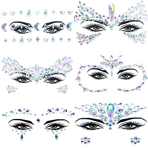 - 6 Set Face Gems, Rhinestone Mermaid Face Jewels Stickers Face Glitter Eyes Face Body Temporary Tattoos, Crystal Tears Face Stickers Decorations Fit for Masquerade Festival Party