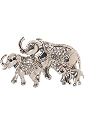 "Mother Elephant and Baby Elephants Brooch Pin 2.6"" with Exquisite Detail and Crystal Accents"
