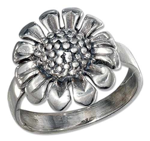 Sterling Silver Antiqued Sunflower Ring (size 09)