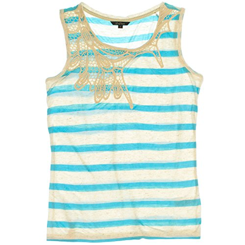 Po Pori Womens Striped Sleeveless Top XXL Sky ()