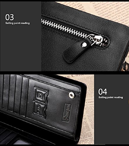 Organizer Wallet Brown Card Men Cash New Purse Tonsee® Receipt Leather Holder Black Bifold fqx0nz6w