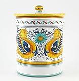 Hand Painted Italian Ceramic 9.5-inch Canister Raffaellesco - Handmade in Deruta