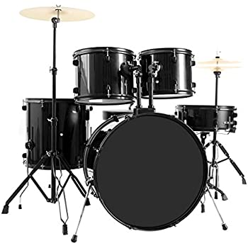 new 5 piece full size complete adult drum set cymbal throne black the stands for. Black Bedroom Furniture Sets. Home Design Ideas
