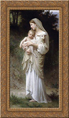 Bouguereau Canvas Art - Innocence 16x24 Gold Ornate Wood Framed Canvas Art by Bouguereau, William Adolphe