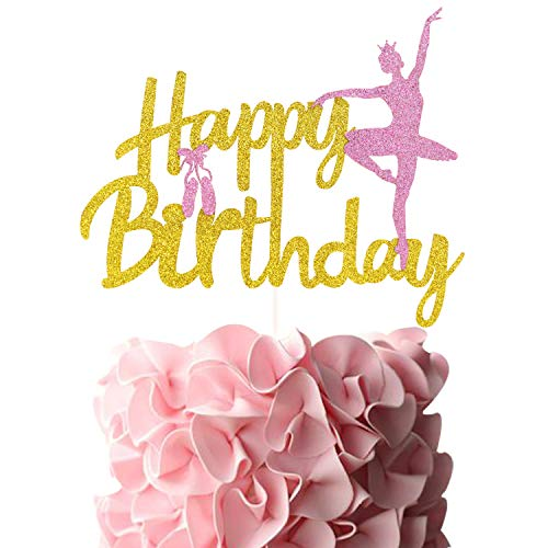 Ballerina Birthday Cake Topper Pink Ballet Slippers Cute Dancer Baby Girls Bday Party Supplies Gold Glitter Double Sided Decor]()