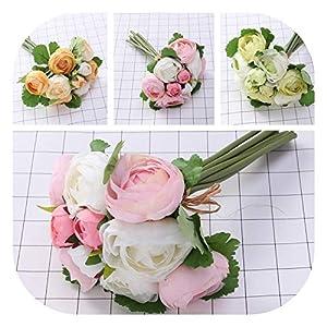mamamoo 10pcs Artificial Flowers Camellia Bridal Wedding Bouquet Bridesmaid Bride Toss Bouquet Home Decoration 20