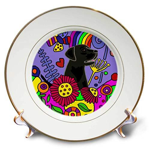 Black Labrador Porcelain - 3dRose All Smiles Art - Pets - Cool Funny Cute Black Labrador Retriever in Flower Garden Abstract Art - 8 inch Porcelain Plate (cp_299880_1)