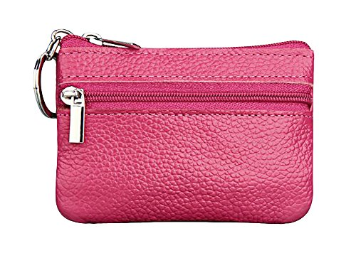 (ETIAL Womens Genuine Leather Zip Mini Coin Purse w/Key Ring Hot)