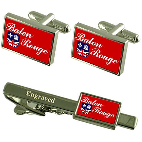 Baton Rouge City USA Flag manchette gravé Set Cravate