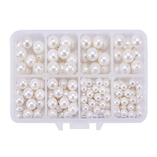 PandaHall Elite About 200 Pcs Round Shell Pearl Beads Spacers Bead Diameter 6-10mm for Jewelry Making Cream White - 7 Mm White Button