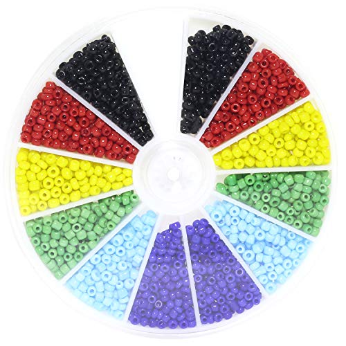 (Lind Kitchen 1000pcs Mini Glass Beads DIY Handmade Jewellery Beading Fittings Loose Seed Spacer Beads 2mm 6-Color Mixed (Black, Red, Yellow, Green, Light Blue, Dark Blue) )