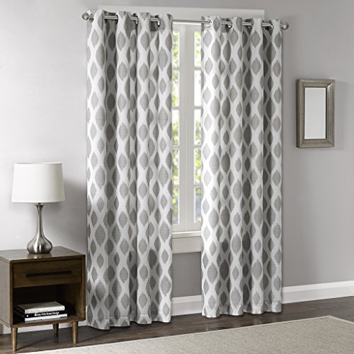 Blackout Curtains for Bedroom, Modern Contemporary Silver Sheer Window Curtains for Living Room Family Room, Stella Woven Grommet Room Darkening Black Out Window Curtain, 50X84, 1-Panel Pack