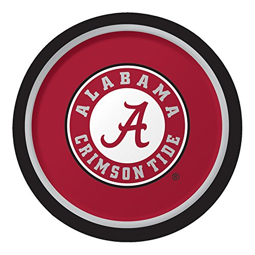 Creative Converting 8 Count Sturdy Style University of Alabama Paper Plates (Dinner Size), 8.75, Crimson/White
