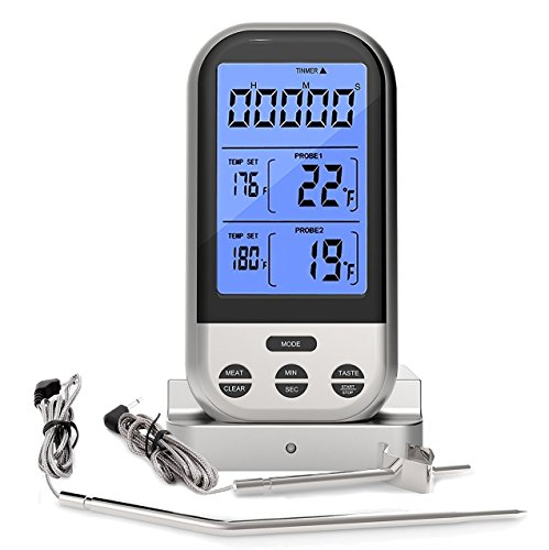 Lcd Fixed Large (Meat Thermometer Wireless Remote Control – Rantizon Digital Food Thermometer for Cooking, Instant Read, Timer, Dual Probes Waterproof, Digital LCD, Free Oven Fixed Clip for BBQ Smoker Grill Kitchen)