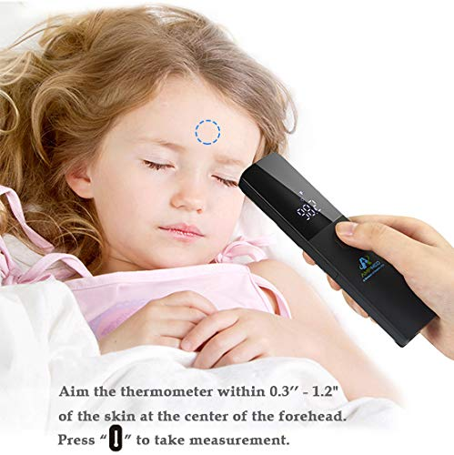 Amplim Medical Grade Non Contact Digital Forehead Thermometer for Adult and Baby, 2001W1, Black