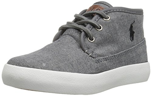 Image of Polo Ralph Lauren Kids Boys' Waylon MID Sneaker, Grey Chambray, 7 Medium US Toddler