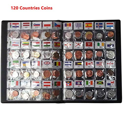 Coin Collection Starter Kit 120 Countries Coins /100% Original Genuine/World Coin with Leather Collecting Album Taged by Country Name and Flags/Coin Holder Collection Storage Classic Gifts
