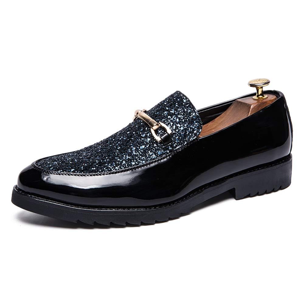 Fang-shoes, 2018 Chaussures Oxford des Hommes avec Boucle en métal à l\'avant Tendance et Talon en métal à Peindre Beleg sur Chaussures commerciales formées, Cuir synthétique, Argent (Silver), 43 EU