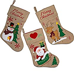 """Set of 3 Burlap Christmas Stockings 18"""" Holiday Stocking..."""