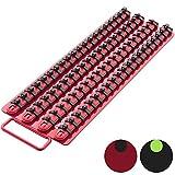 Olsa Tools Portable Socket Organizer Tray   Red Rails Black Clips   Holds 80 Sockets   Premium Quality Socket Holder