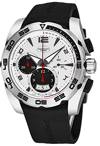 Parmigiani Fleurier Pershing 005 Mens Automatic Chronograph Watch - 45mm Analog Silver Face with Second Hand, Date, Chrono and Tachymeter Scale - Black Rubber Band Swiss Made Waterproof Watch for Men (Tachymeter Chrono)