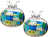 2 in lot Jerusalem Pomegranate Shabbat Candles Holder Hand Painted Glass Candlesticks Judaica Gift Green