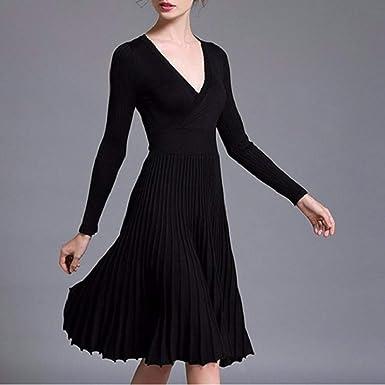 2510c85872c Midi Winter Dresses for Women Spring Pleated Knit Long Sleeve V Neck Knee  Length Surplice A-line Elegant Wrap Dress at Amazon Women s Clothing store