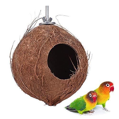 - YJJKJ Pet Bird Natural Coconut Shell Bird House Parakeet Budgie Cockatiel Finch Sparrows Breeding Nesting Bird Aviary Cage Box Anti-Pecking Bite (Diameter:5.9