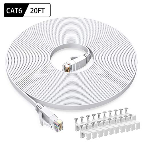 - Cat6 Ethernet Cable 20 FT White, BUSOHE Cat-6 Flat RJ45 Computer Internet LAN Network Ethernet Patch Cable Cord - 20 Feet