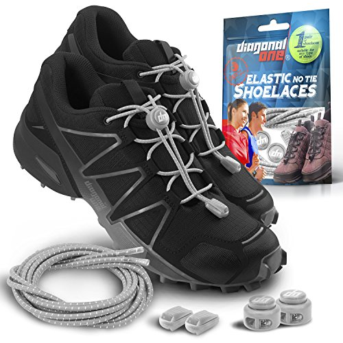 DIAGONAL ONE Elastic Shoe Laces for Men and Women, Compatible with Sneakers, Converse, Trainers, and Casual Footwear - No Tie Shoelaces Suitable for Kids, Adults, Teenagers and Seniors (Gray)