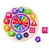 Baby : Timy Wooden Shape Sorting Clock Puzzle Teaching Clocks Number Puzzle Learning Toy for Kids
