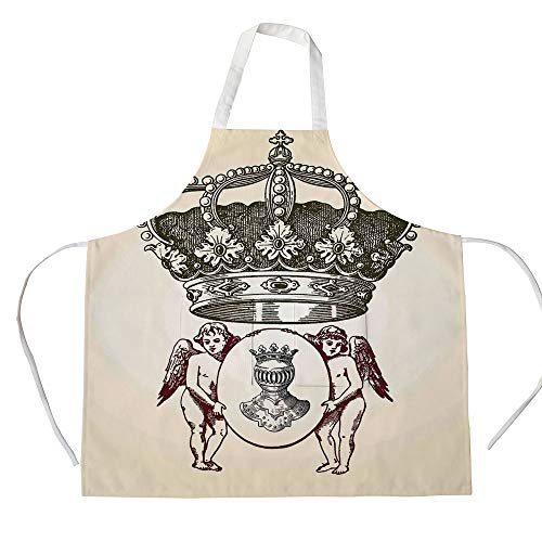- iPrint Cotton Linen Apron,Two Side Pocket,Medieval,Illustration Shield Design Art with Crest Badge Medallion Angel Royal,Cream Maroon Sepia,for Cooking Baking Gardening