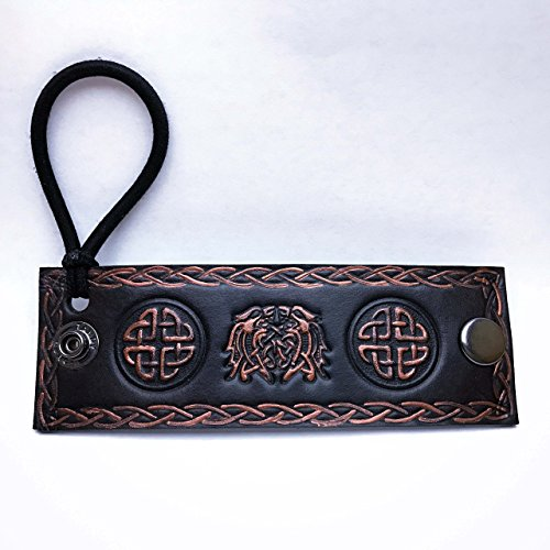 Bronze Celtic Beasts Black Leather Hair Tie (Colleges For Costume Designers)
